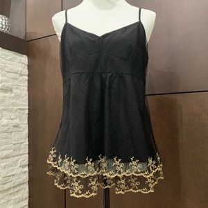 NWT LOFT Black lace cami with gold embroidery L